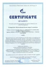 Certificate of safety<br>Trimegavitals. Siberian linseed oil and omega-3 concentrate Doplněk stravy - Trimegavitals. Siberian linseed oil and omega-3 concentrate, 30 kapslí